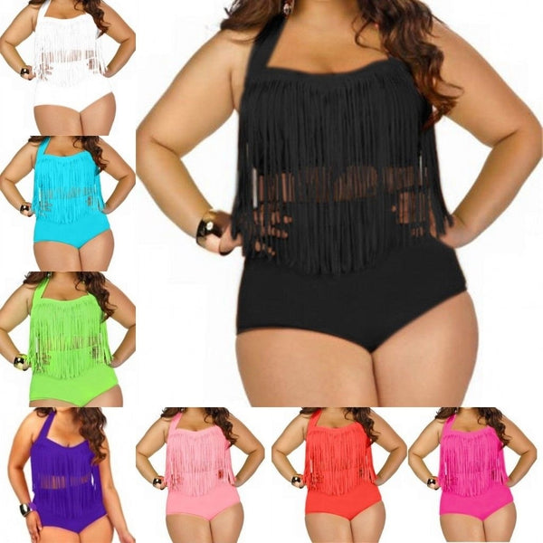Fashion Plus Size Halter Push Up Tassel High Waist Two Piece Tankini Set Women Swimsuit Swimwear Bathin Suit