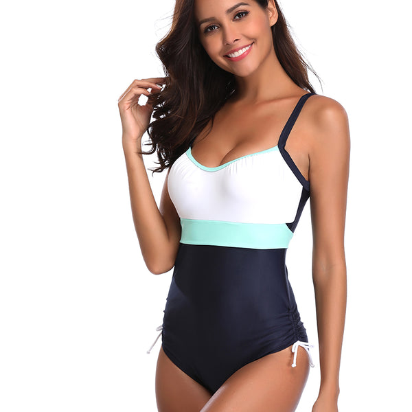 Sexy Color Stitching Halter One-piece Swimwear