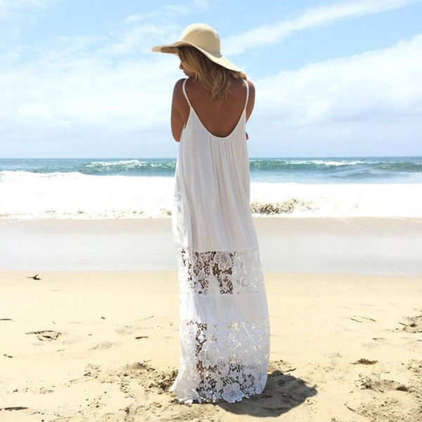 Strapless Lace Beach Boho Maxi Sundress Sleeveless Long Dress