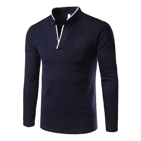Men's Large Size Stand Collar Long Sleeve Polo Shirt
