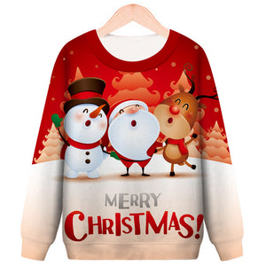Christmas Cartoon Santa Printed Round Neck Casual Pullover Sweatshirt