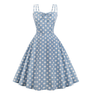 Spaghetti Strap Polka Dot Printed Vintage Dress (S-4XL)