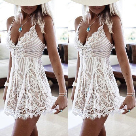 Lace Strap Casual Evening Party Cocktail Short  Mini Romper Dress