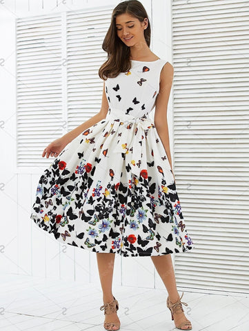 Butterfly Print Vintage Sleeveless Pleated Swing Party Dress