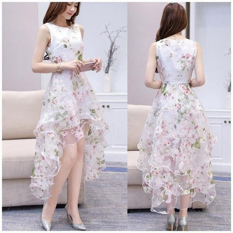 O-neck Lace Double Layer Flower Prom Party Dress