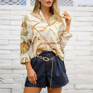Long Style Irregular Print Women Blouse Shirt