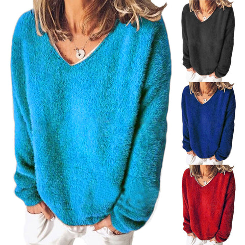 Women Deep V Neck Loose Fleece Long Sleeve T-shirts Blouse Shirts Tops