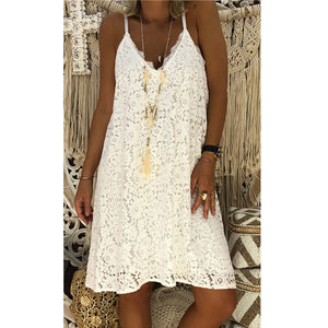 Plain Sleeveless Spaghetti Strap V-neck Lace Dress