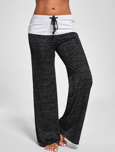 Fashion Foldover Heather Wide Leg Casual Yoga Pants