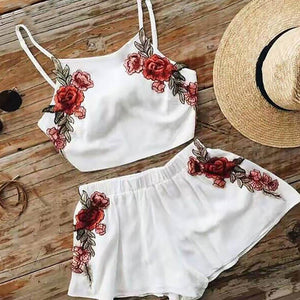 Women's Fashion Two Pieces Sling Vest Shorts Set