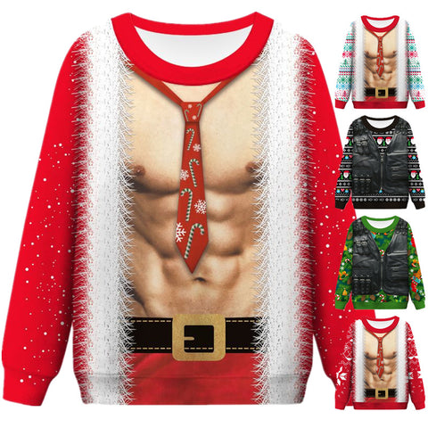 Funny Faux Muscle Print Ugly Christmas Sweater Long Sleeve Sweatshirt