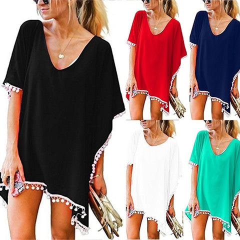 Women's Fashion Chiffon Tassel Swimsuit Bikini Stylish Beach Cover up
