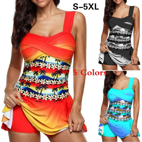 S-5XL Summer Floral Printed Women Two Pieces Tankini Swimsuit Swimwear Beach Wear Bathing Suit