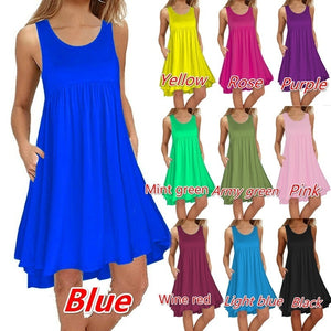 Women's Sleeveless Loose Plain Casual Short Dresses