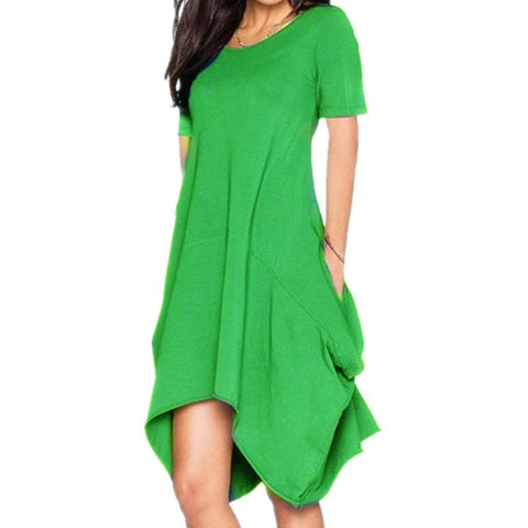 Fashion Casual Summer O-neck Loose Solid Color Short Sleeves Dress