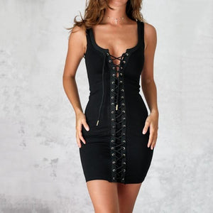LACED UP Cross Straps Solid Color Summer Mini Dress