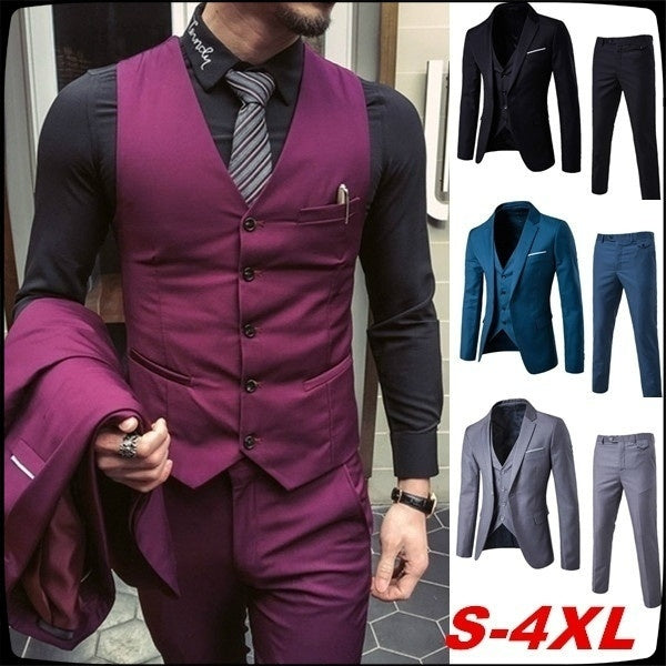 Business Banquet Suit Three-piece Suit (S-6XL)