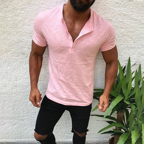 Men's Summer Shirt Solid Color Stand Collar Slim Casual Short Sleeve Cotton T-Shirt