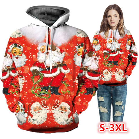 Santa Claus Printed Hooded Sweater