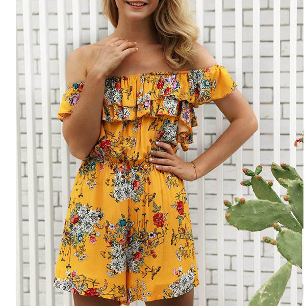 Off Shoulder Floral Print Romper