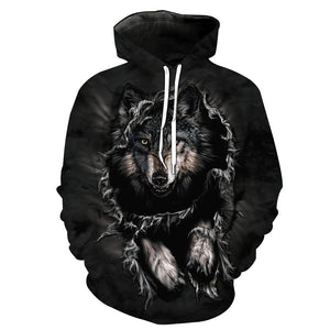 Wolf Head 3D Cool Digital Print Collar Loose hoodie