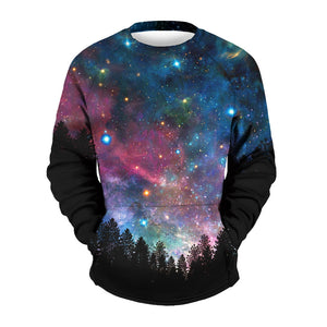 Men's Star Print Printed Collar Sweater
