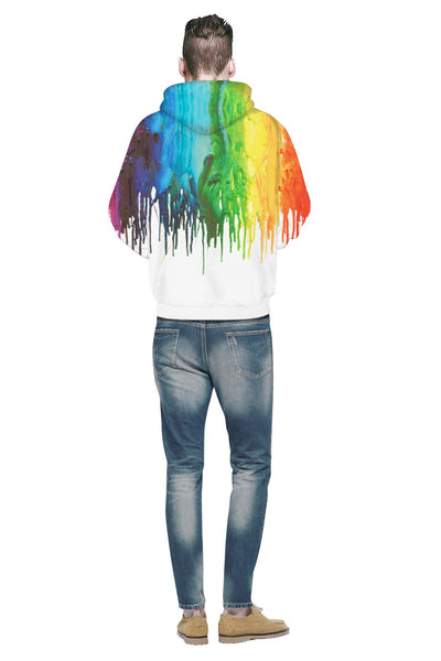 3D Tie Dye Printed Rainbow Paint Graphic Men Hoodie