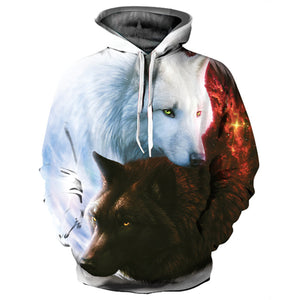 Black and White Double Wolf Digital Printing Couple Hoodie