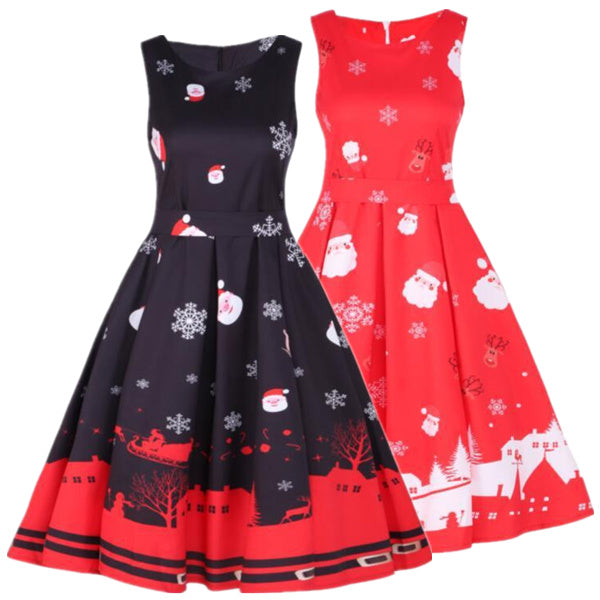 Santa Claus and Snowflake Print Dress
