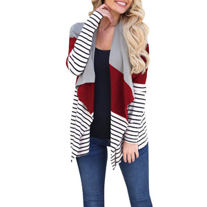 Long Sleeve Stripe Patchwork Open Front Cardigan