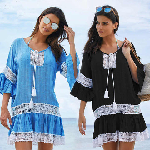 2019 Cotton Tunics Swimwear Beach Cover up Beachwear