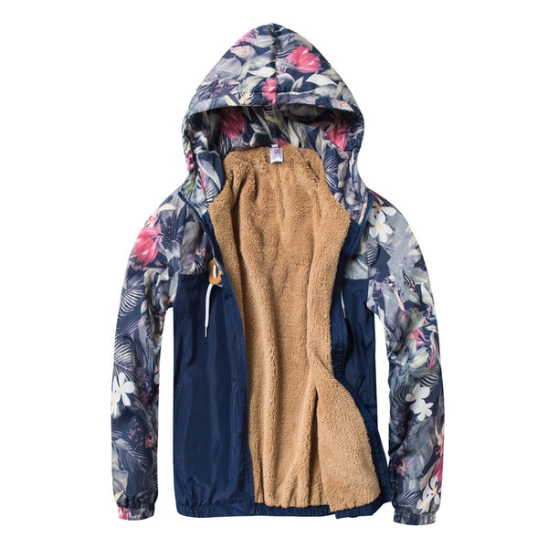 Floral Printed Patchwork Hooded Thick Jacket
