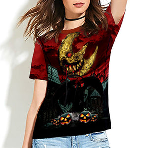 Halloween Terror Green Print Women's T-shirt