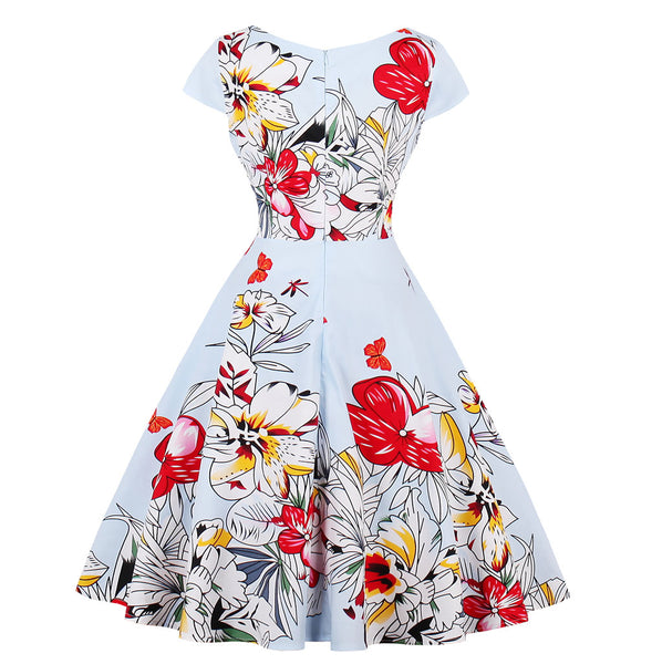 Sleeveless V-neck Print Vintage Dress