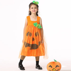 Halloween Kids Show Children's Costumes Pumpkin Skirt Set Girls Dress