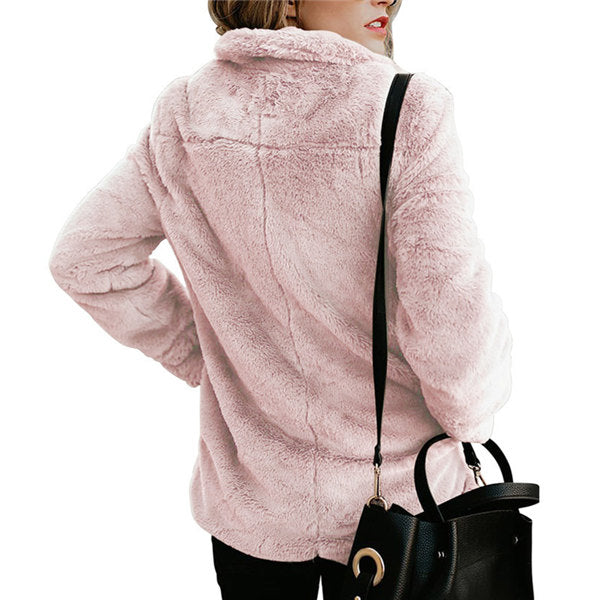Women's Solid Color Lapel Long Sleeve Pocketed Plush Jacket