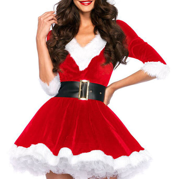 Santa Claus Red Velvet V-neck Half-sleeve One-piece Dress With Hat