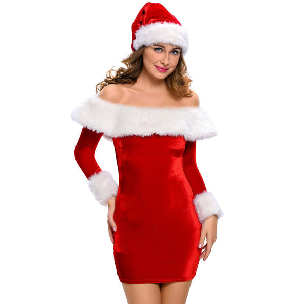 Women's Christmas Mrs Santa Claus Costume Long Sleeve Dress with Hat