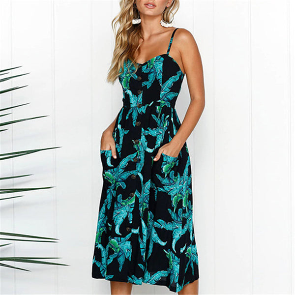 Leaf Print Button Up A Line Dress