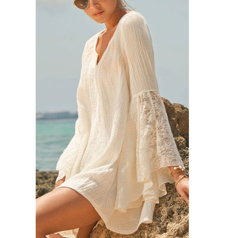 Casual Lace Summer Beach Bell Sleeve Dress
