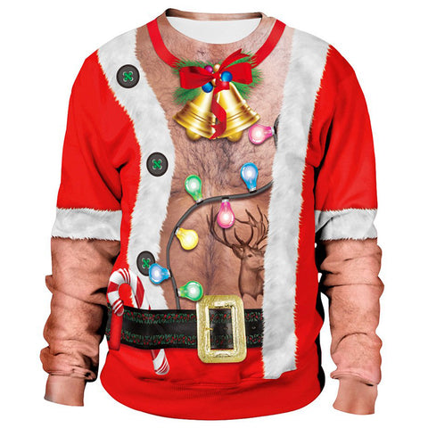 Funny Fake Chest Hair Print Men Ugly Christmas Sweater Long Sleeve Sweatshirt