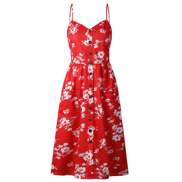 Flower Print Button Up A Line Dress