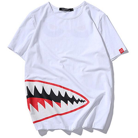 Shark Mouth Print Slim Street Style Men T-shirt