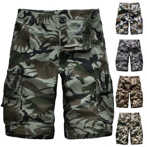 Men's Cotton Multi Pocket Camo Loose Workwear Shorts