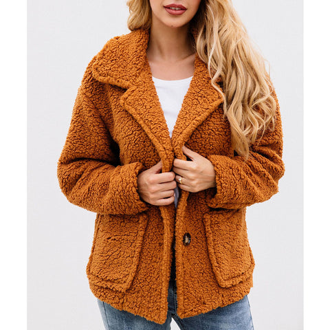 Button Lapel Pocket Blouse Woolen Jacket