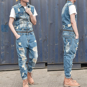 Men's Detachable  Jacket One Piece Denim Vest Jumpsuits Ripped Jeans Overall Coverall Workwear Pants