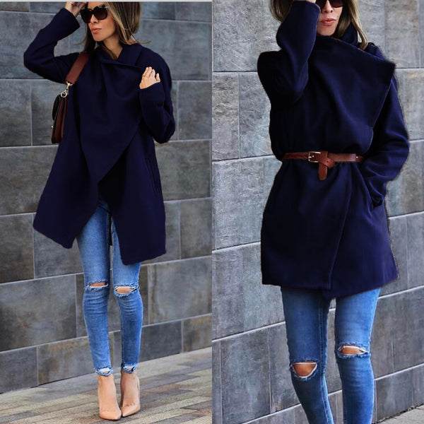 Women's Woolen Coat with Pocket