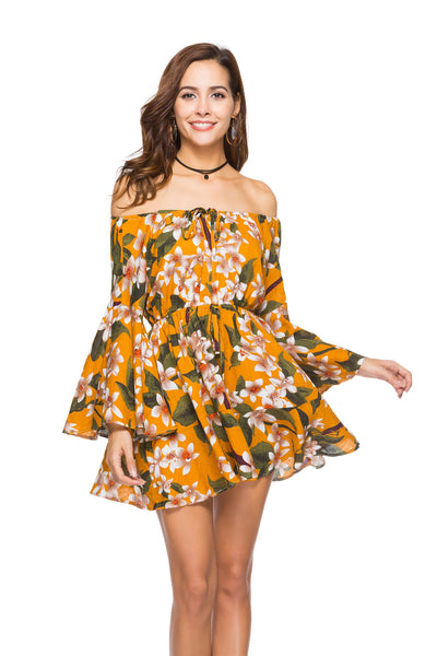 Printed Elastic Waist Strapless Dress
