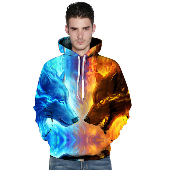Ice Fire Double Wolf Head 3D Digital Printing Hooded Couple Hoodie