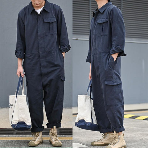 Men Deluxe Loose Jacket One Piece Long Sleeve Cotton Pocket Jumpsuits Overall Coverall Workwear Pants